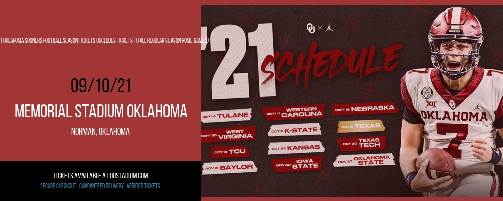 2021 Oklahoma Sooners Football Season Tickets (Includes Tickets To All Regular Season Home Games) at Memorial Stadium Oklahoma